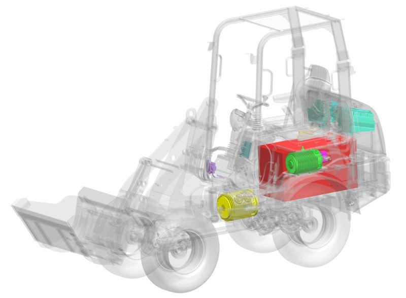 """ויידמן eHoftrac; את המנוע מחליף צבר מצברים במשקל 400 ק""""ג, המספק חשמל לשני מנועים - האחד להנעה והשני להפעלת המערכת ההידראולית"""